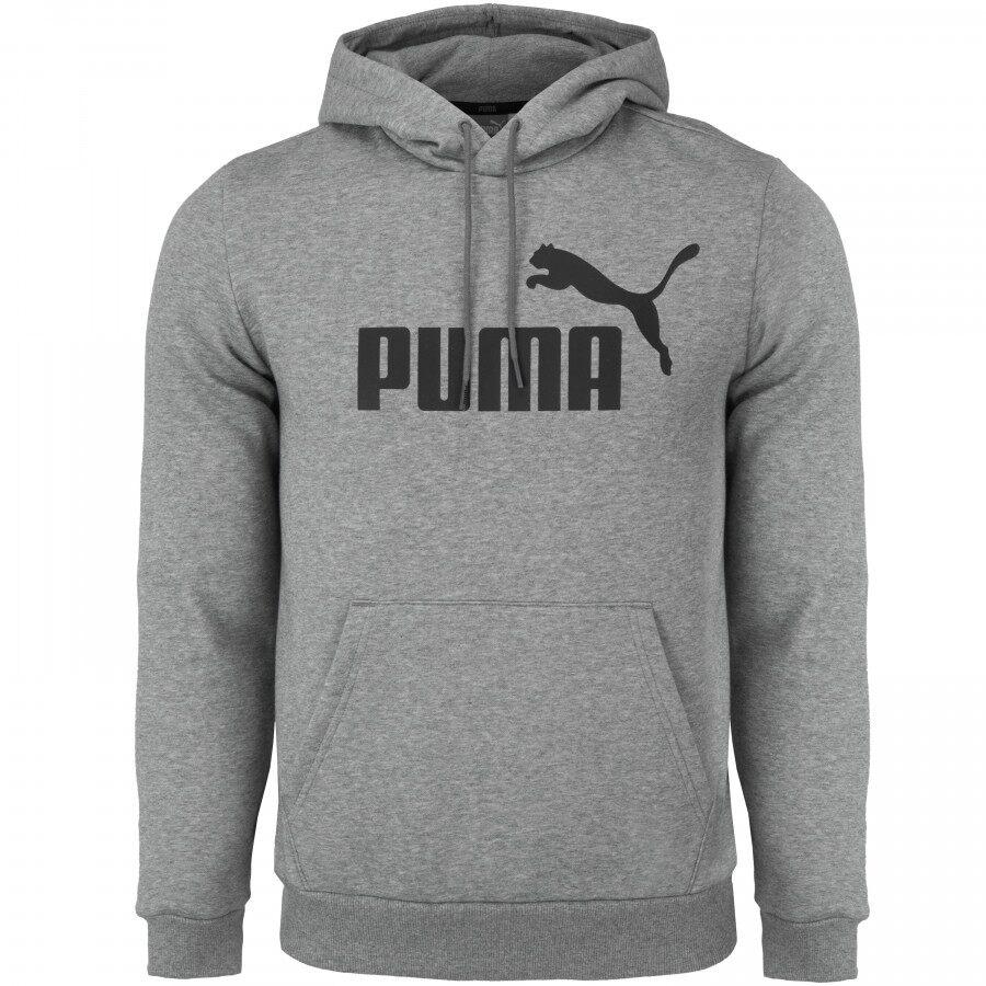 Moletom Puma ESS Hoody Big Logo Com Capuz Masculino Cinza