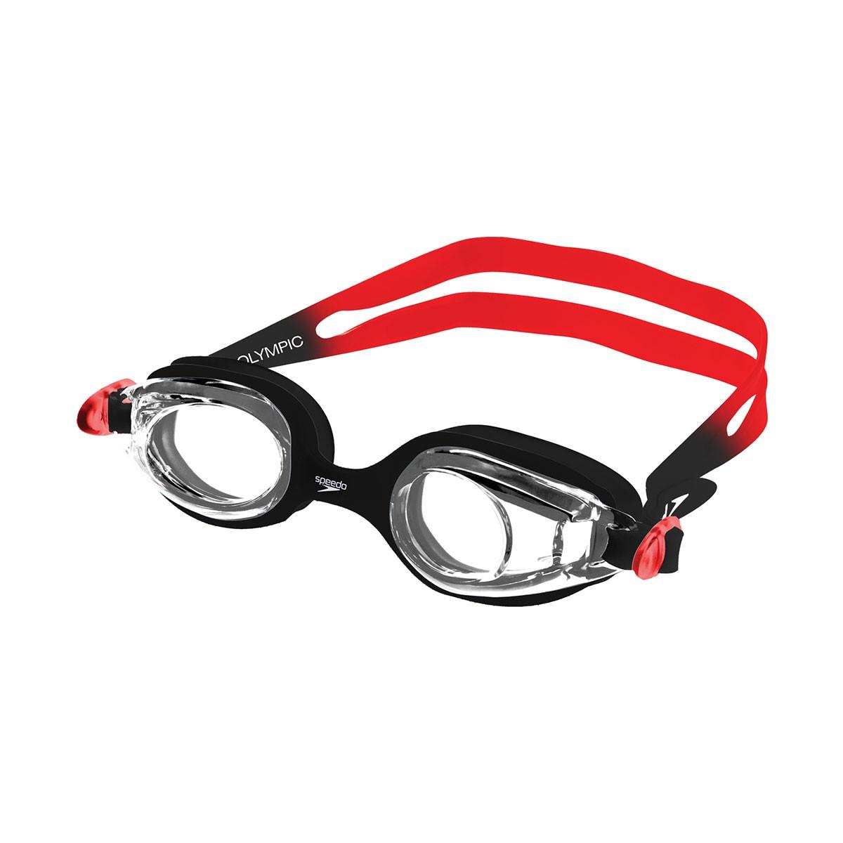 Óculos Natação Speedo Olympic Infantil Vermelho Preto