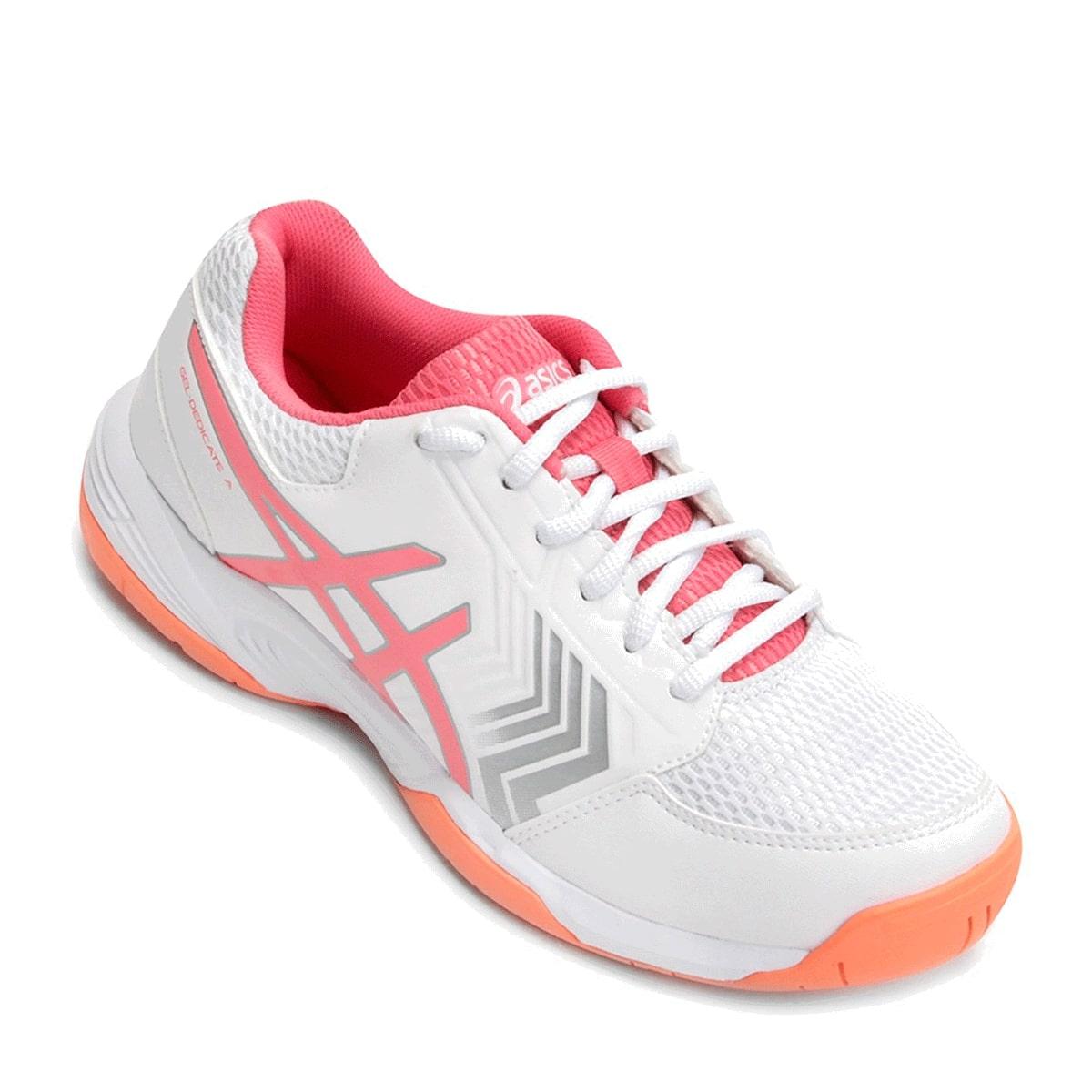 Tênis Asics Gel-Dedicate 5A Feminino Branco Rosa