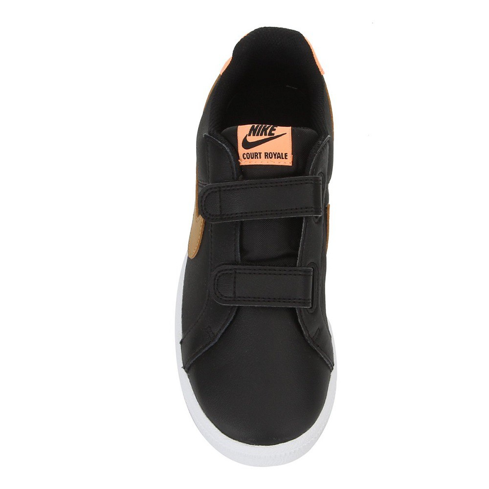 Tênis Infantil Nike Court Royale Preto Laranja