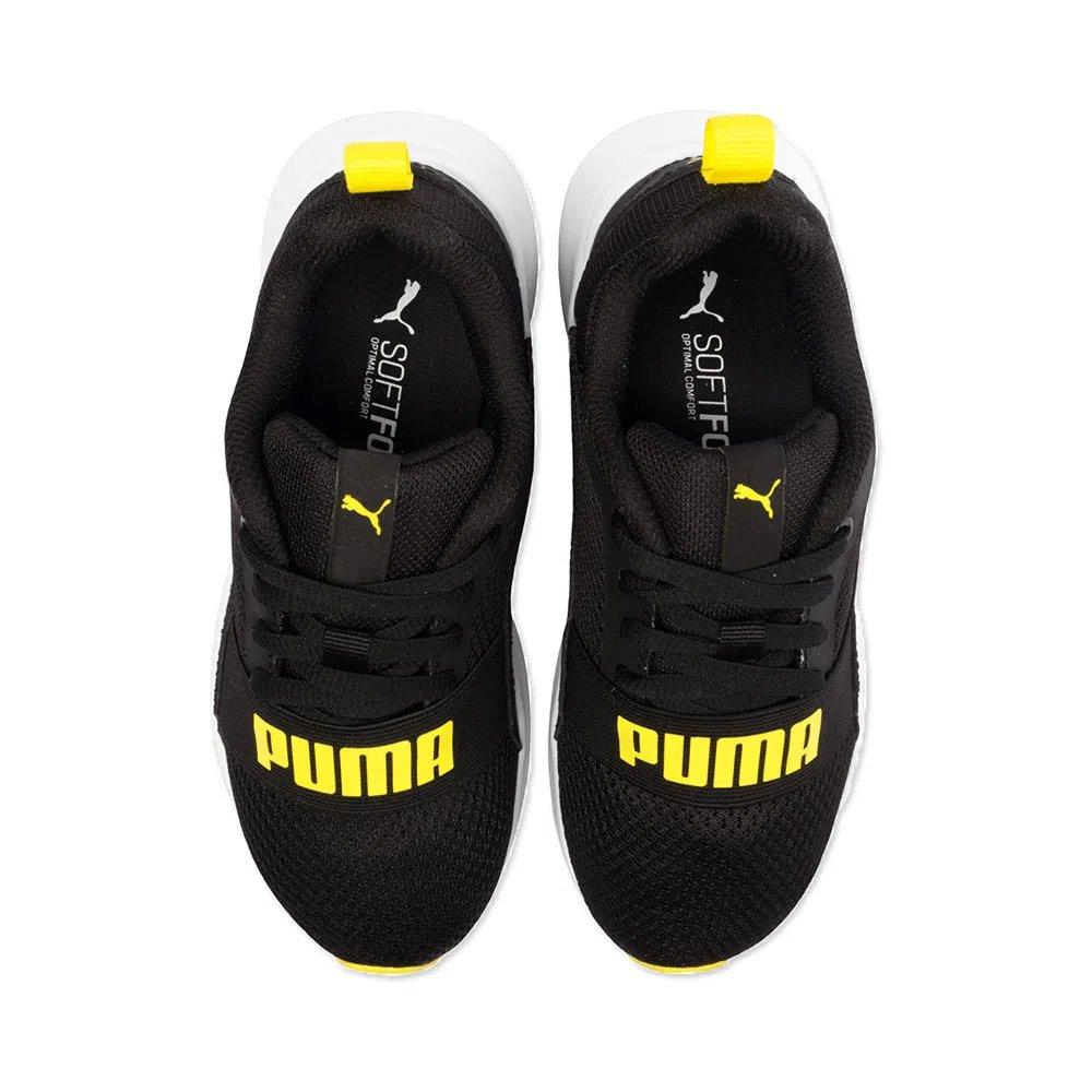 Tênis Infantil Puma Wired Jr Preto Amarelo