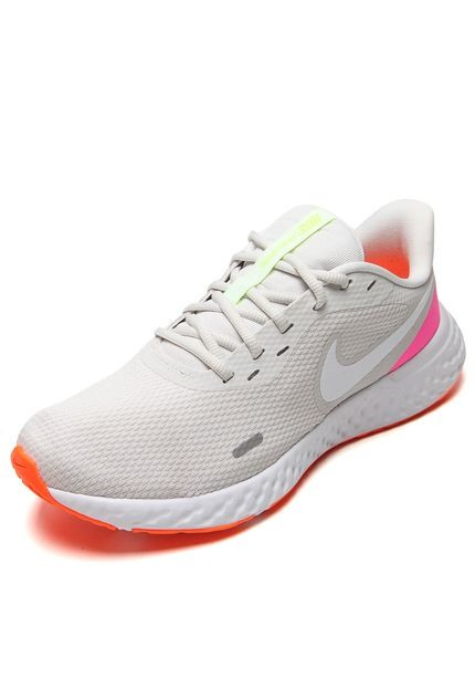 Tênis Nike Revolution 5 Feminino Cinza e Laranja