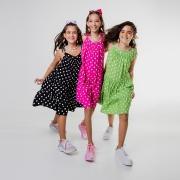 Vestido Color Poá de alcinhas