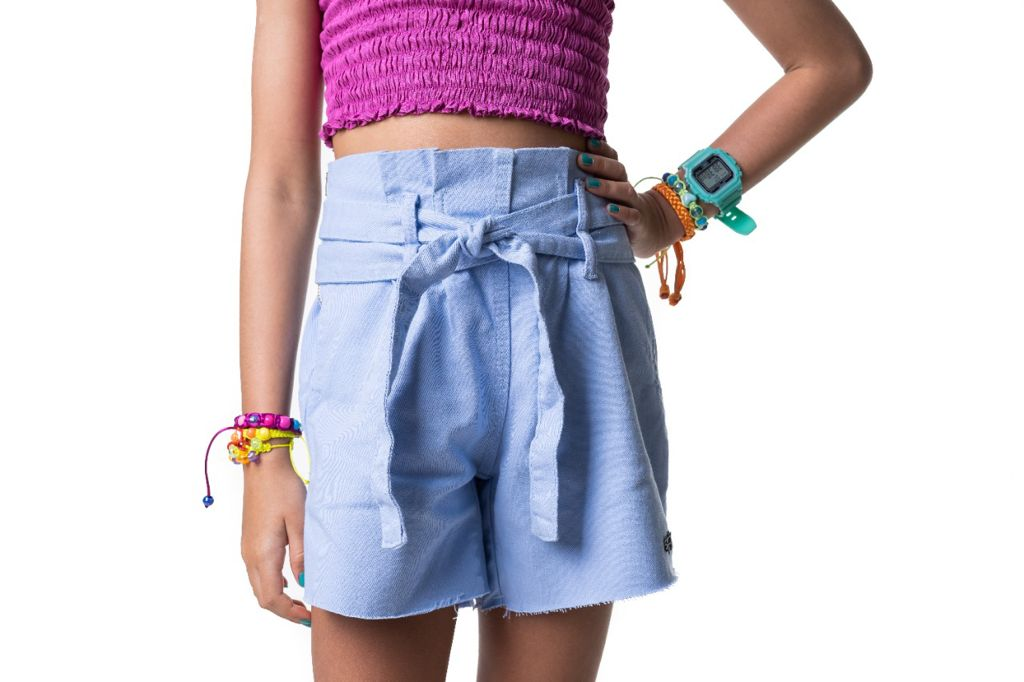 Short clochard jeans azul claro