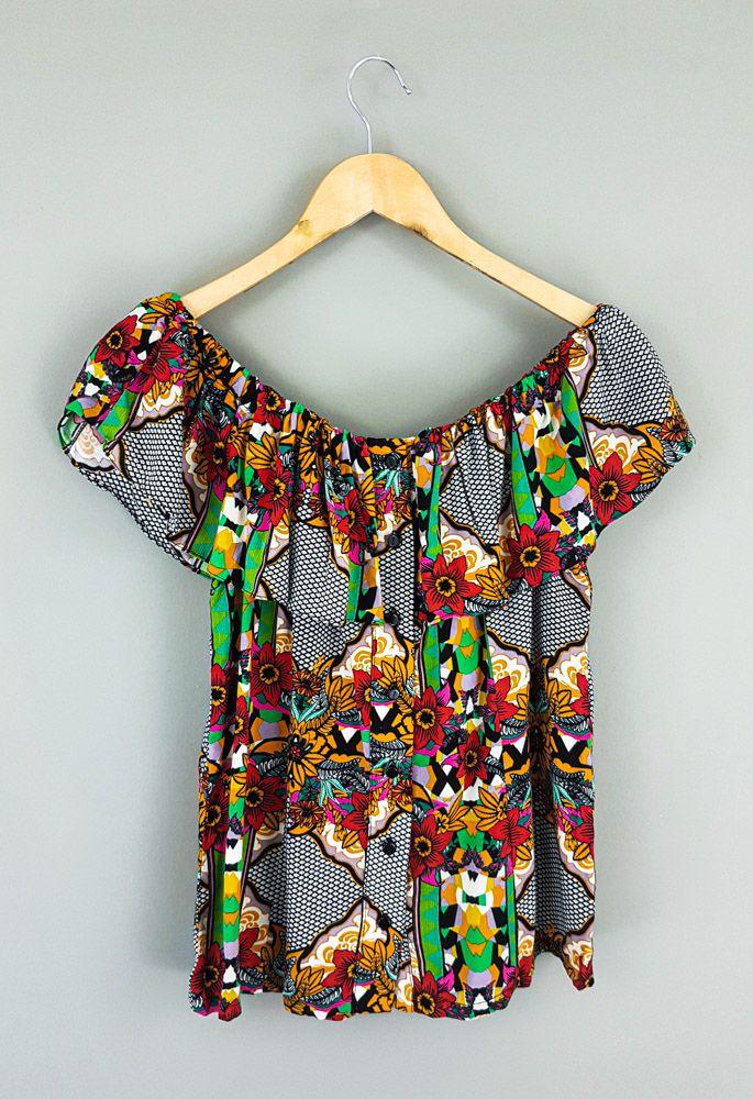 Bata ombro a ombro colorida flores botões Avanzzo Tam-40