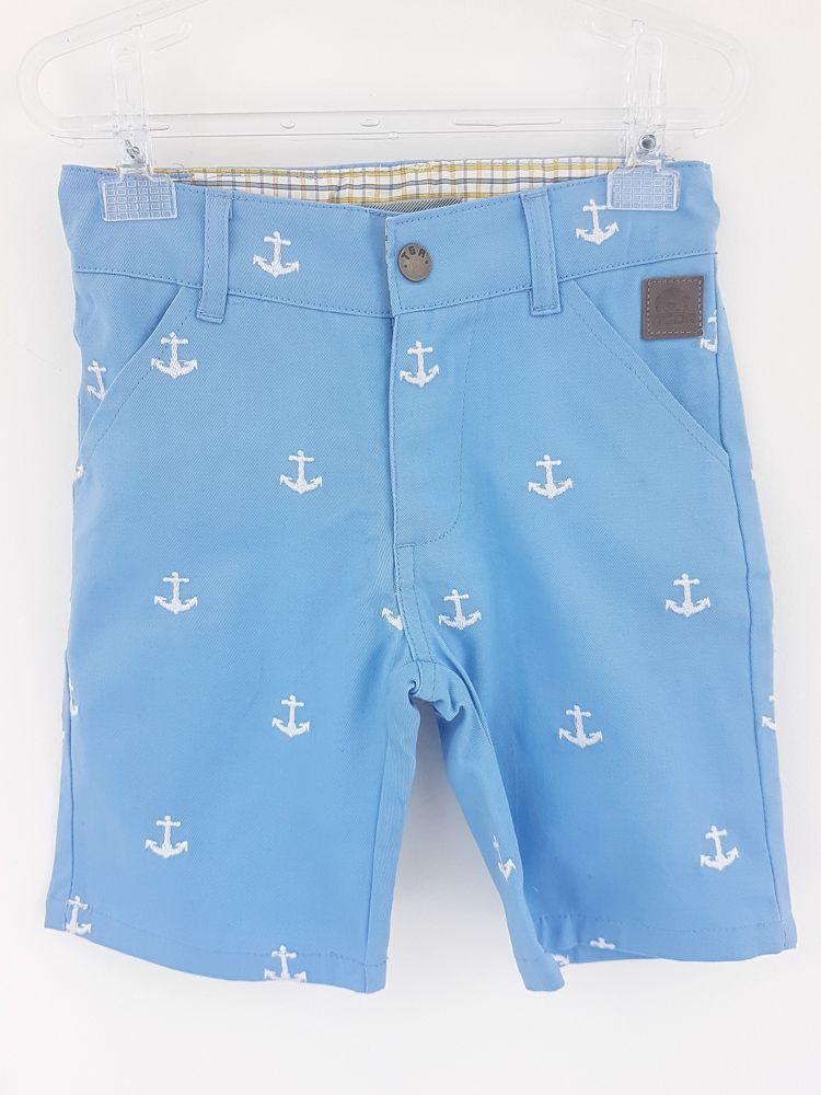Bermuda brim azul bordado âncoras Tigor tam 4