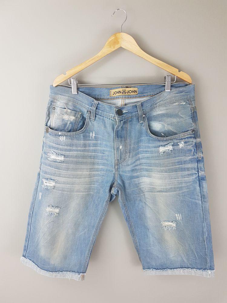Bermuda jeans azul rasgos/manchas John John tam 44