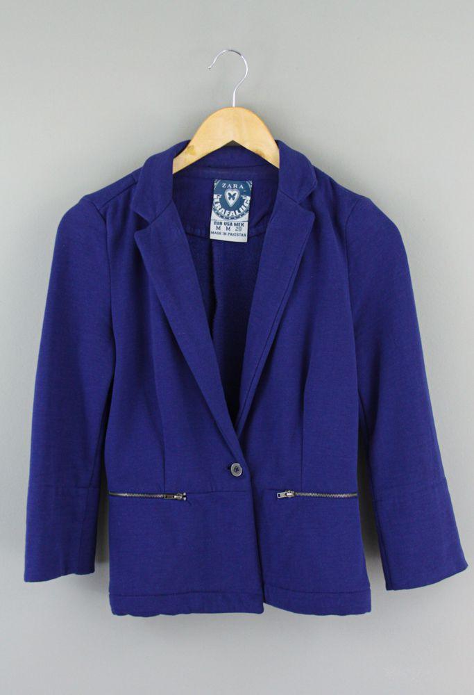 Blazer moletom azul Zara tam M