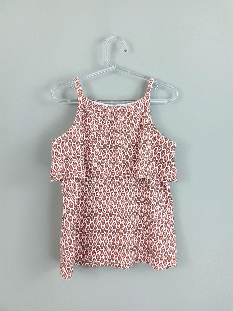 Blusa rosa folhas laranjas/babados Carters tam 5