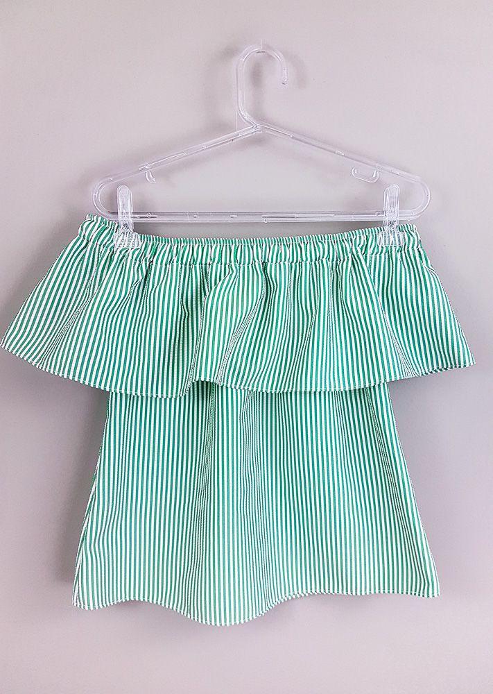 Blusa branca listras verdes/babados B tam 12