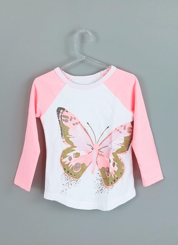 Blusa branca/laranja estampa borboleta Carters tam 24m