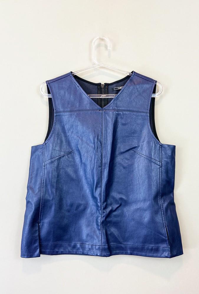 Blusa corino azul ziper atrás Shoulder tam M
