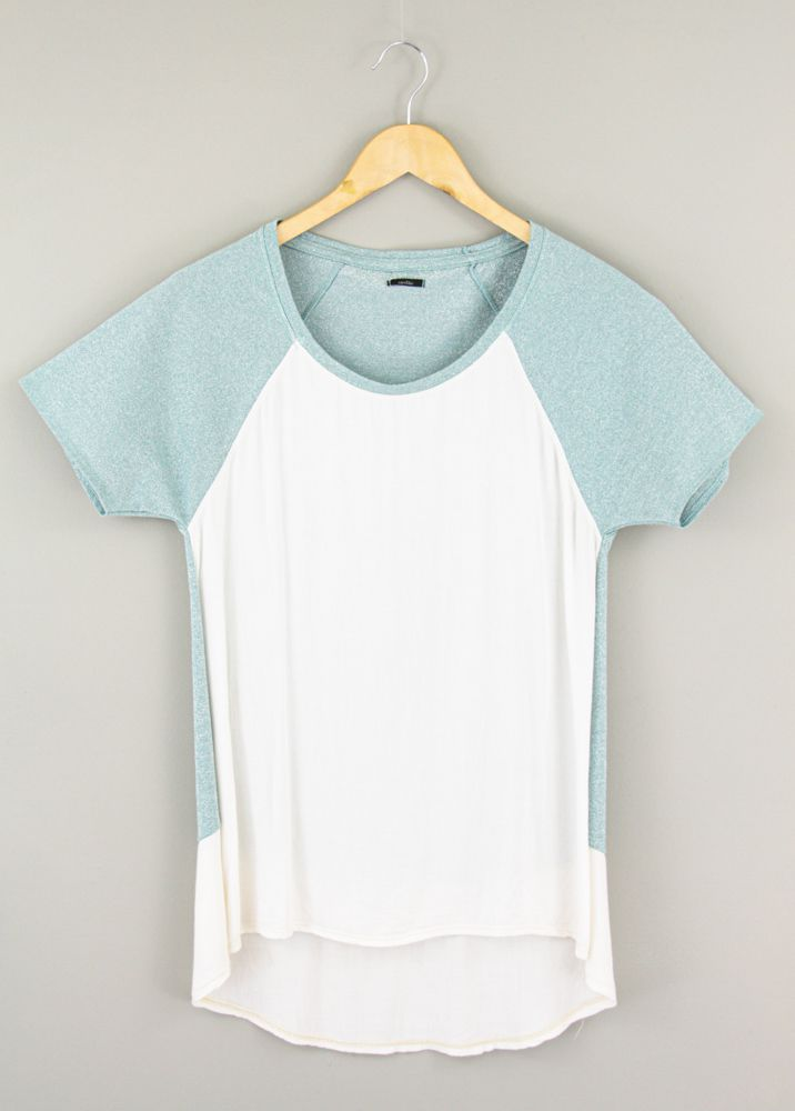 Blusa bicolor branca/azul brilhos Cantão tam M