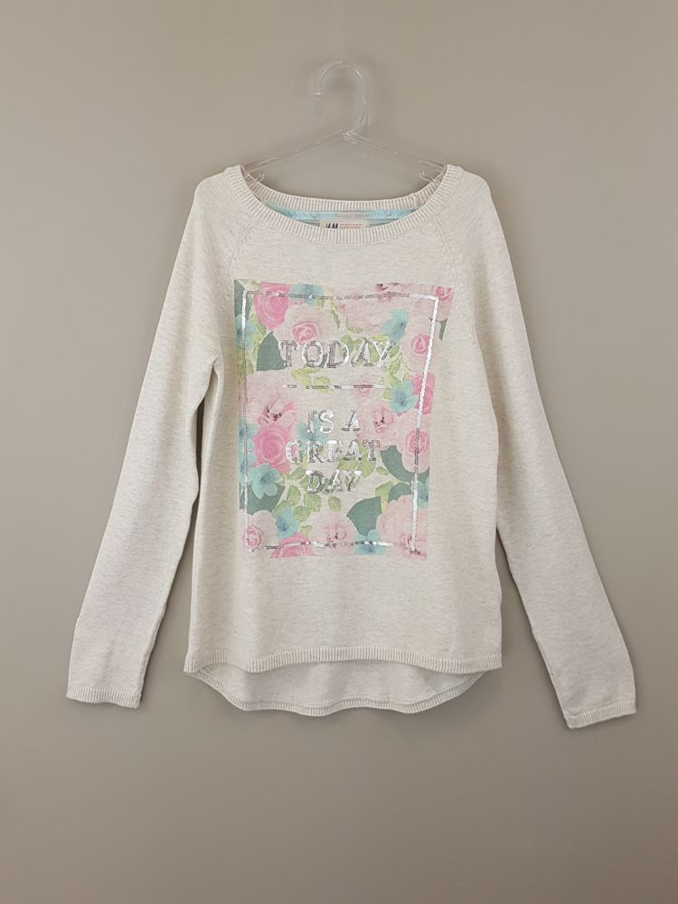 Blusa linha bege estampa floral H&M tam 10/12