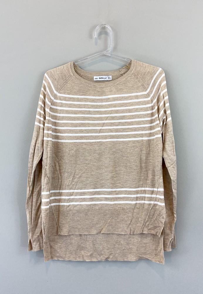 Blusa linha mescla bege detalhe listras brancas Zara Knit tam P