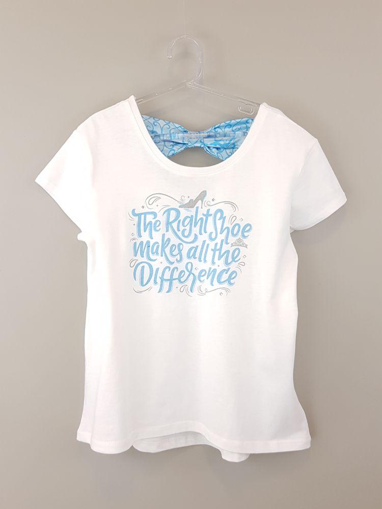 Blusa malha branca estampa letras azuis Disney Parks tam 12/14
