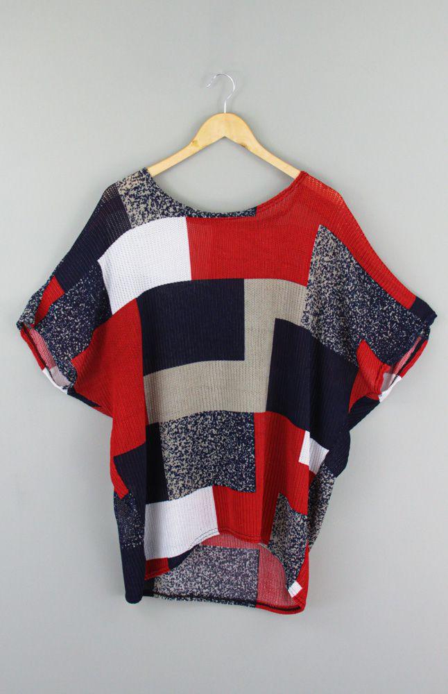 Blusa estampa geométrica vermelha/marinho/bege tam G