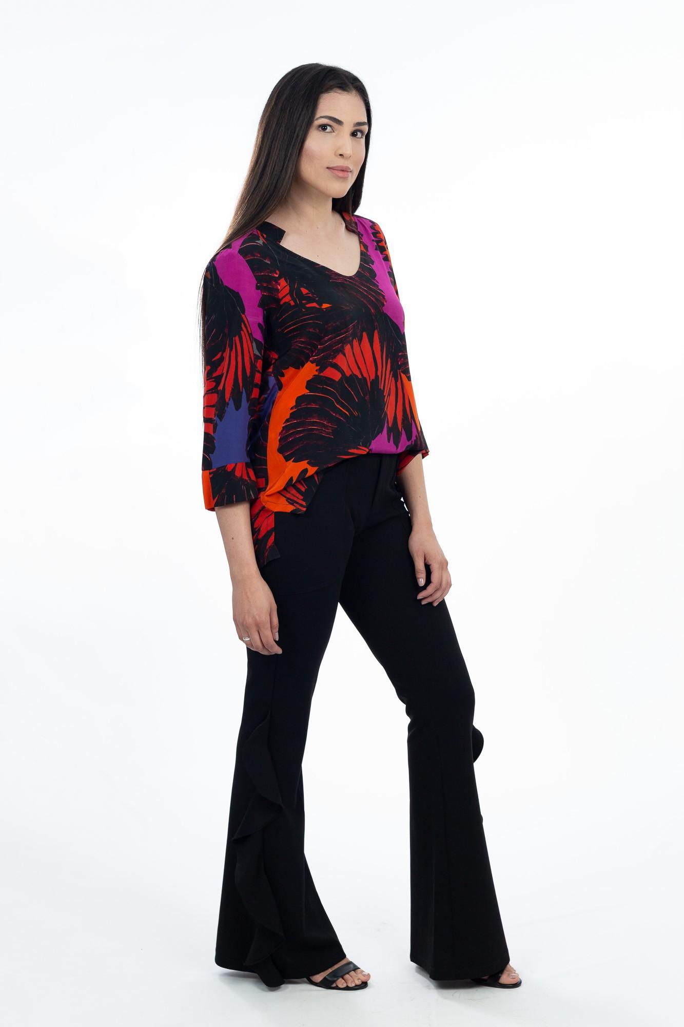 Blusa seda laranja/preta/roxa Fit tam 44