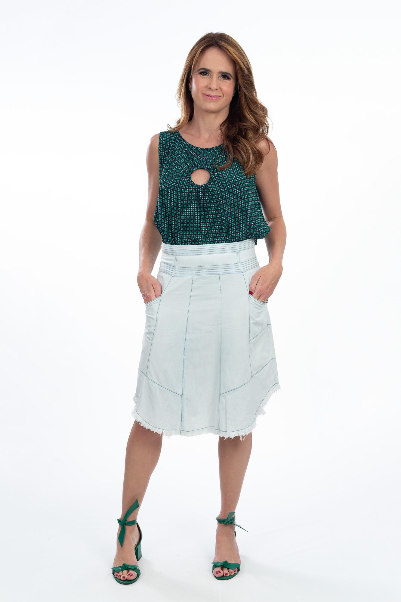 Blusa seda marinho estampa quadriculada verde A.Brand tam 38