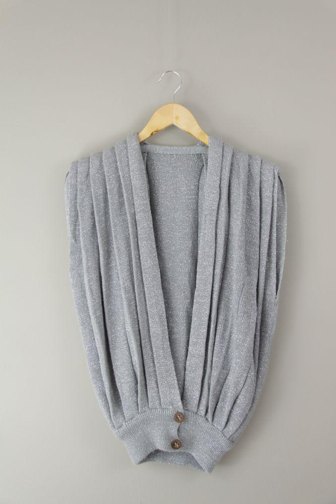 Blusa tricô prateado 2 botões madeira tam M