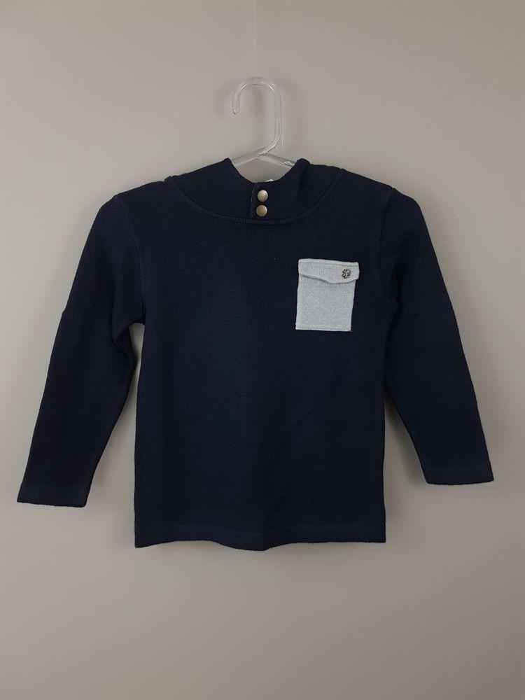 Blusa tricô marinho com capuz P.B Sport tam P