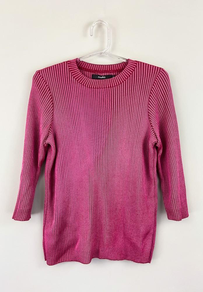 Blusa tricot pink gola redonda Amaro tam P