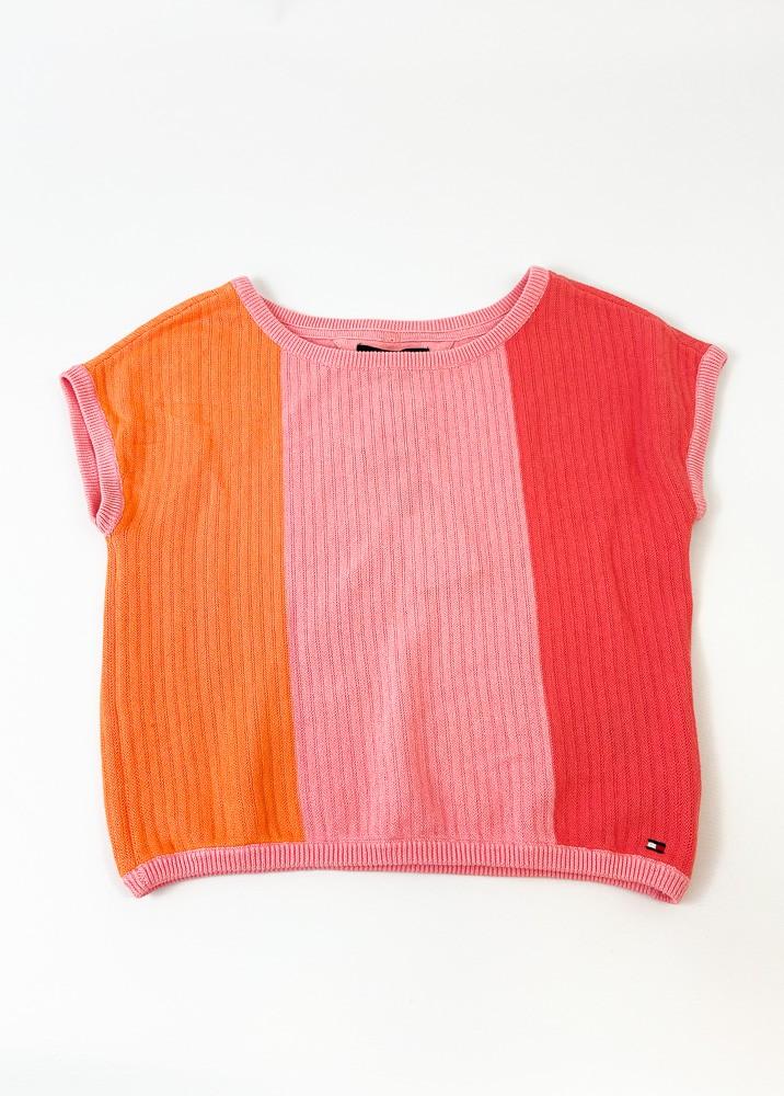 Blusa tricot rosa/laranja/goiaba Tommy Hilfiger tam 4/5