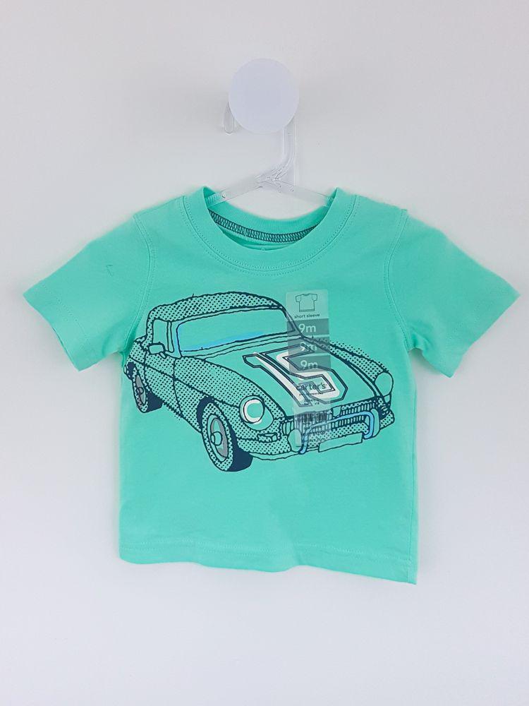 Blusa verde estampa carro cinza Carters tam 9m