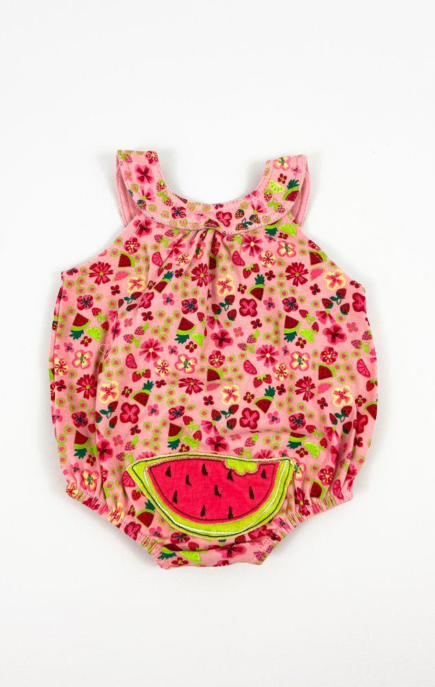 Body rosa estampa floral detalhe melancia tam 3m