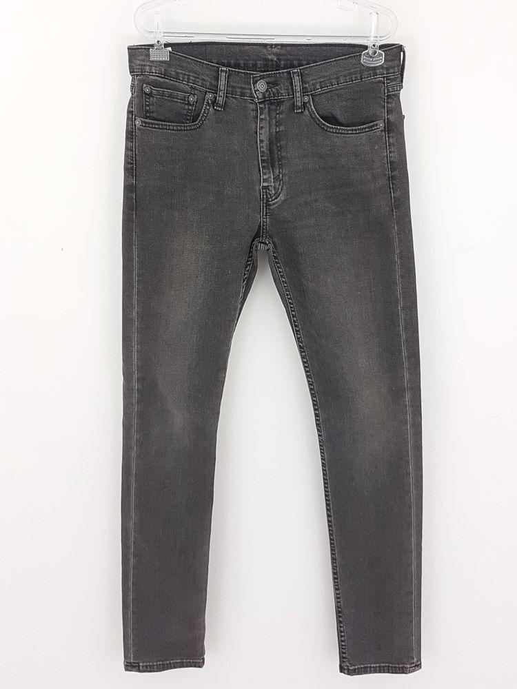 Calça jeans cinza pesponto preto Levi's tam 44