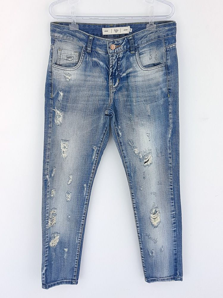 Calça jeans clara destroyed Daslu basic tam 40
