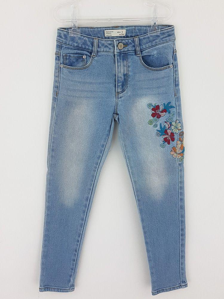 Calça jeans clara flores bordadas Zara Kids tam 9