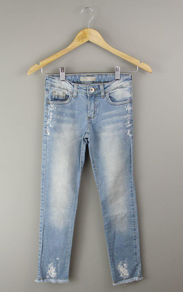Calça jeans claro barra desfiada Zara tam 7/8