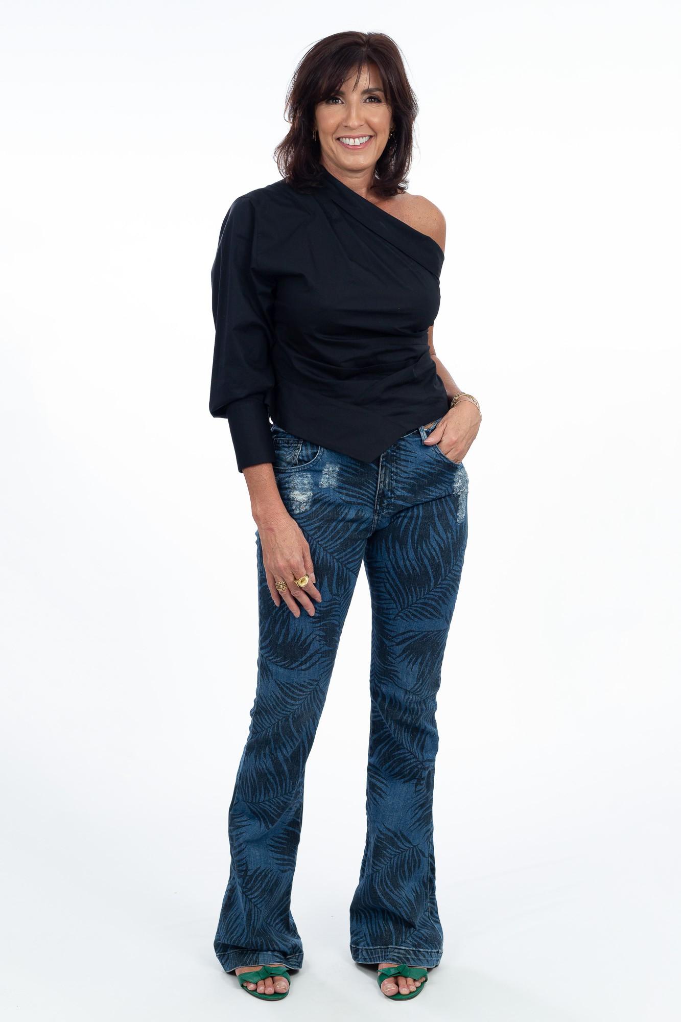 Calça jeans escura estampa folhas Mixed tam 40