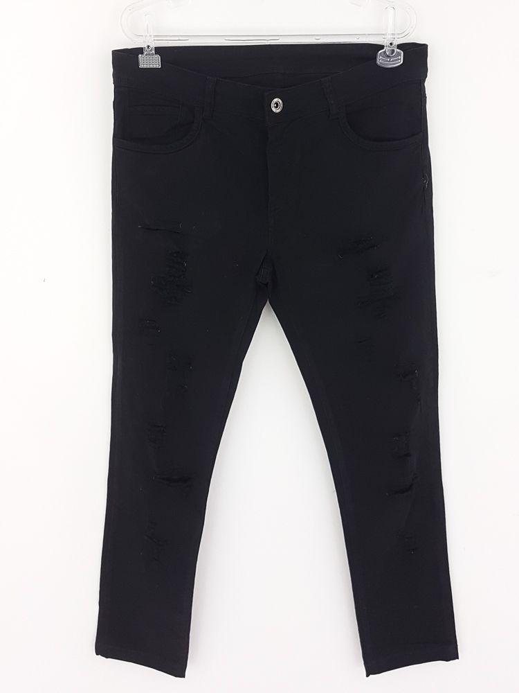 Calça jeans preta rasgada Pargan tam 40