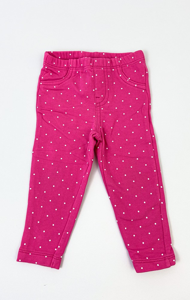 Calça malha pink poá Carters tam 9m