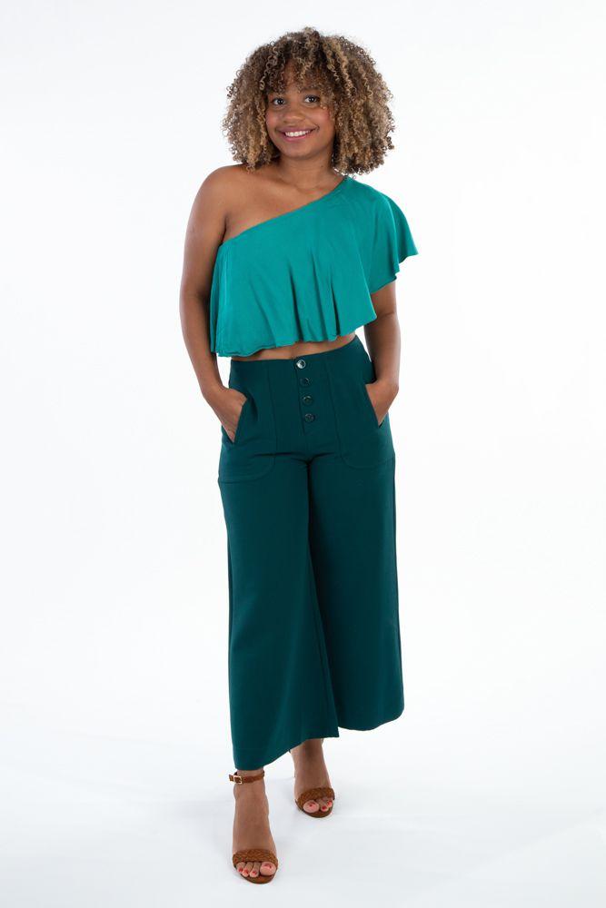 Calça pantalona verde folha Zara tam G