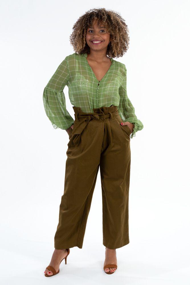 Calça verde cós alto amarração Zara tam PP