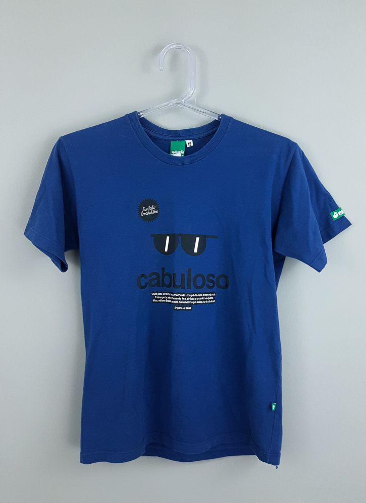 Camiseta azul detalhe óculos tam 12