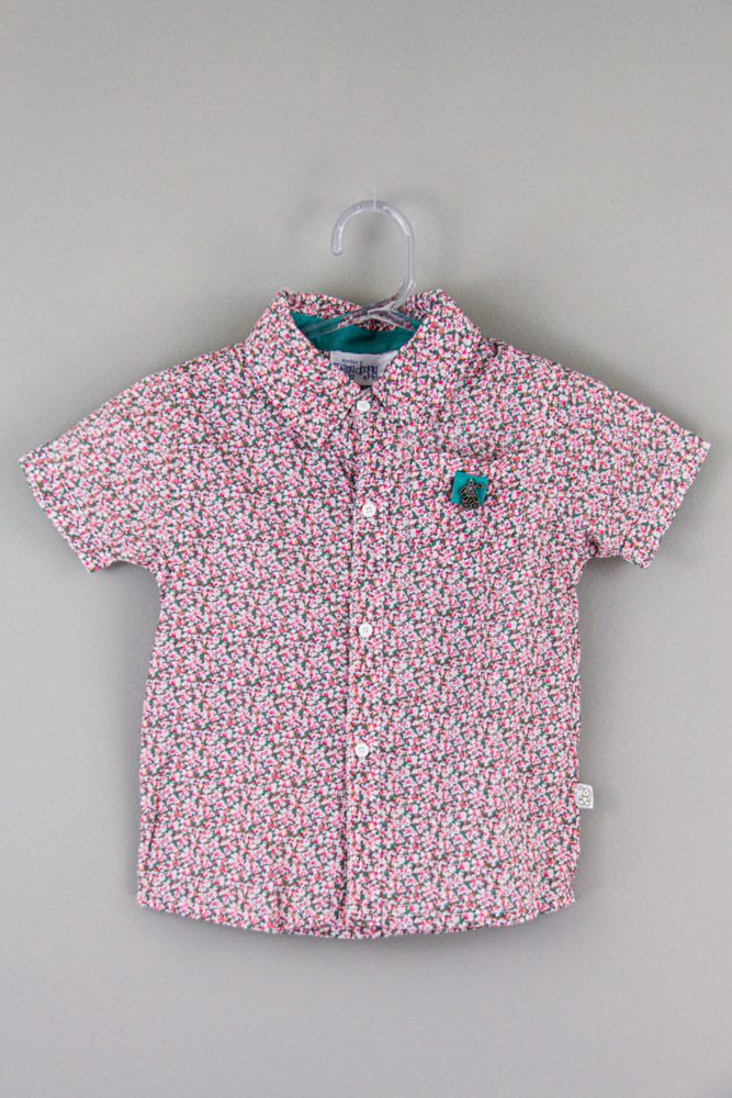 Camisa branca flores rosas/verdes Meny Doggy tam 3