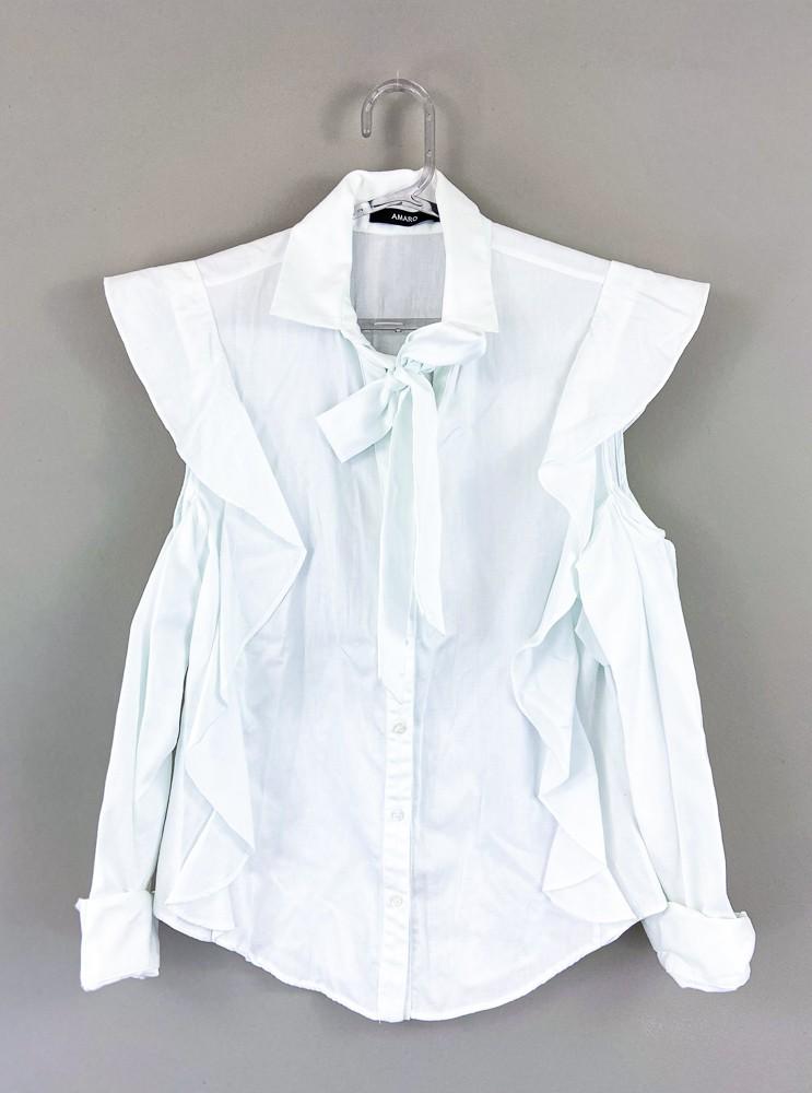 Camisa branca babados/laço Amaro tam 38
