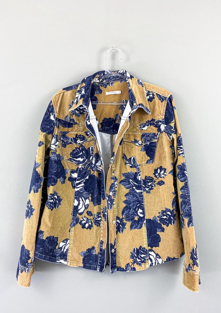 Camisa mostarda flores marinho Maria Filó tam G