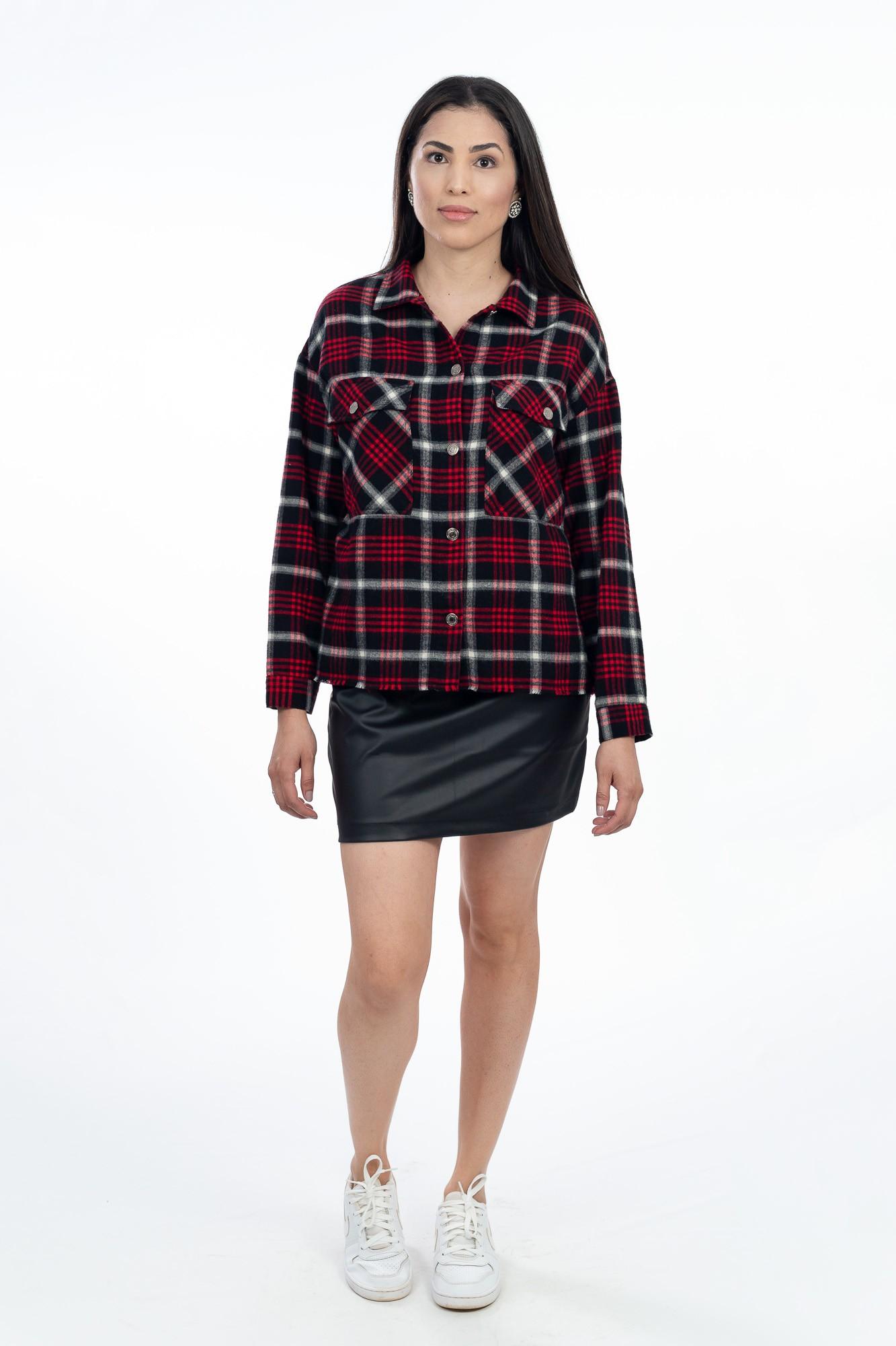 Camisa flanelada xadrez vermelha Zara tam P