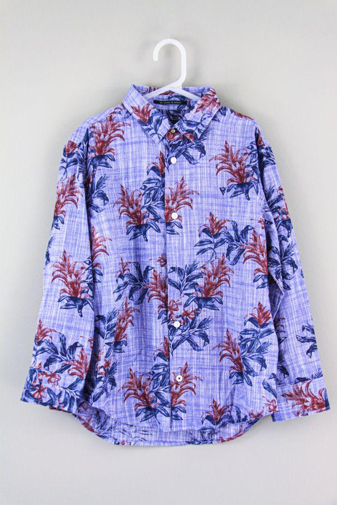 Camisa linho azul estampa floral Vrk tam 6