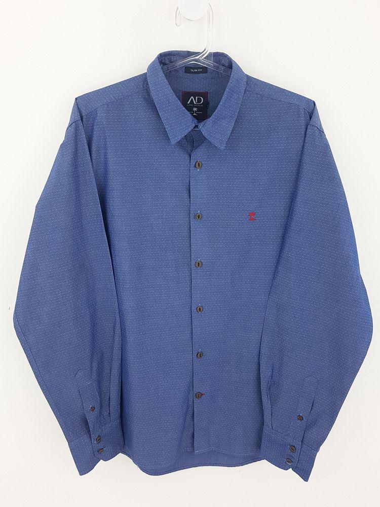 Camisa azul pontinhos brancos Ad Life Style tam M