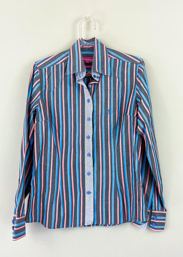 Camisa chumbo listra rosa/azul Dudalina tam 40