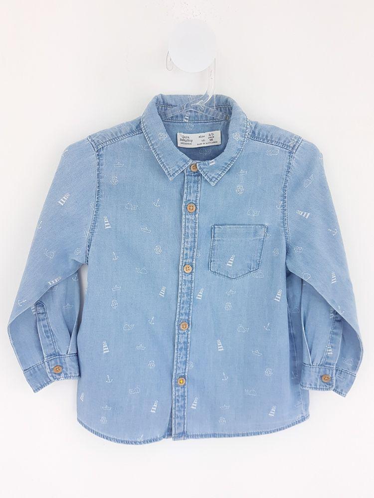Camisa jeans claro estampas baleia floral Zara tam 2/3