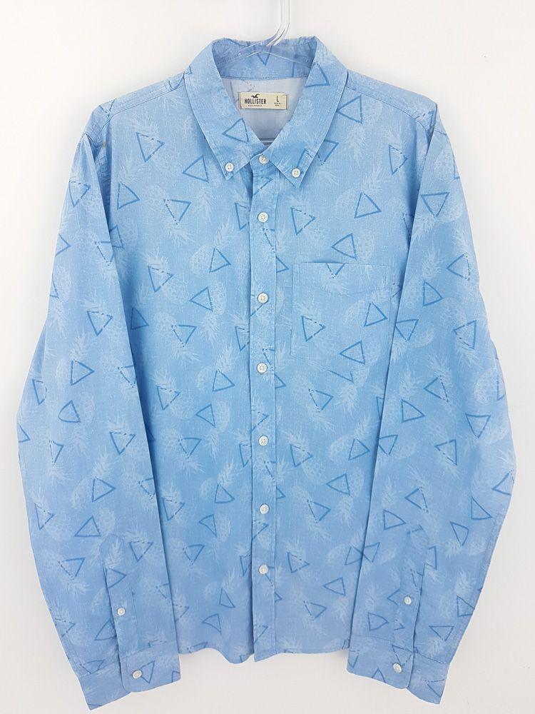Camisa mescla azul/branco Hollister tam G