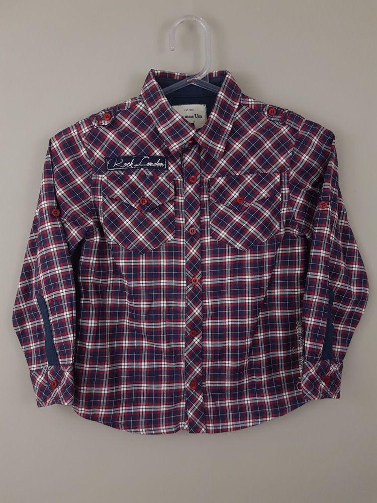 Camisa xadrez marinho/vermelho/branco Um Mais Um tam 6