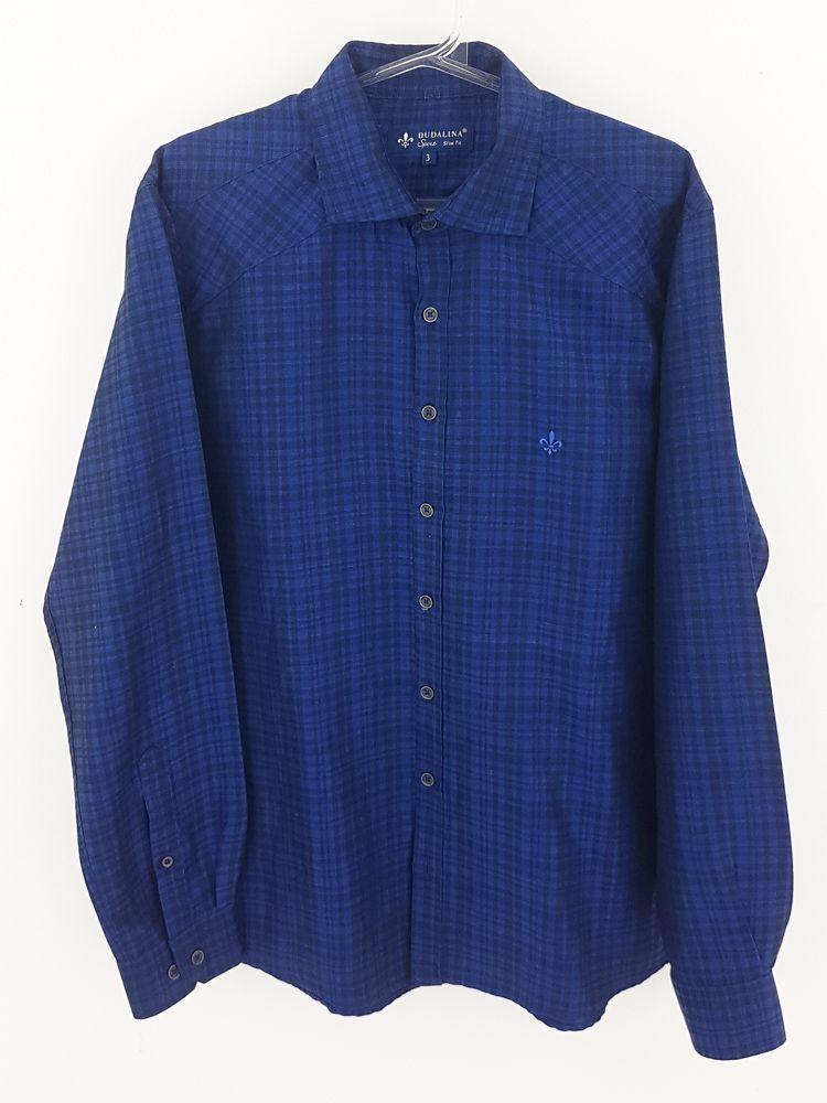 Camisa xadrez preto/marinho borda azul Dudalina tam 3